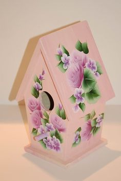 HAND PAINTED decorative BIRDHOUSE with One Stroke by MountBlossom, $32.00
