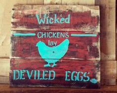 Rustic primitive farmhouse kitchen decor pallet sign turquoise red ...