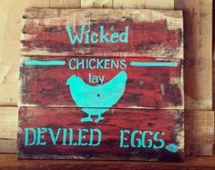 Rustic primitive farmhouse kitchen decor pallet sign turquoise red ...