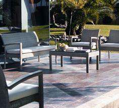 Salon de jardin aluminium et fibre synthétique caramel | Salon de ...