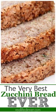 This recipe is by far The BEST Zucchini Bread Recipe I have EVER had. It is Awesome and should be the only recipe you ever use. A hint of cinnamon and the most amazing texture. ~ http://reallifedinner.com Best Zuchinni Bread Recipe, Healthy Zucchini Bread, Zuchinni Loaf, Zucchini Bread Muffins, Best Zucchini Recipes, Zucchini Desserts, Zucchini Chocolate Chip Muffins, Cinnamon Zucchini Bread, Zuchinni Muffin Recipes