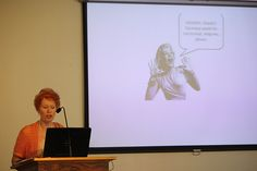 Jeanette Levellie uses Power Point in her class.