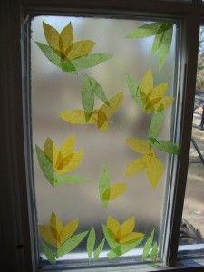 Spring craft crocus with tissue paper