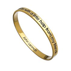 Charmed Circle Gold John Lennon Quote Inspirational Bangle ($205) ❤ liked on Polyvore