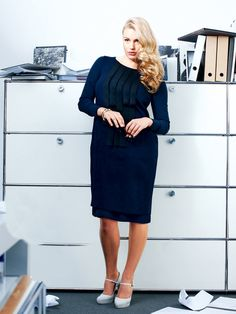 Plus Size Front Embellished Dress: A sweetly detailed sheath for the office