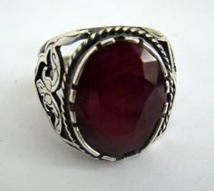 925 Sterling Silver Ruby Ring Size by RumiJewellery on Etsy, £130.00