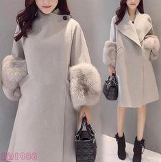 Women s Winter Lapel Wool Blend Jacket Long Coat Warm Fur Trim Sleeve  Outerwear 5d303d3948d