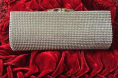 Silver Rhinestone Evening Clutch / Bag With Chain