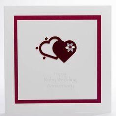 hand made anniversary cards | Ruby Two Hearts Handmade Anniversary Card - three dot cards