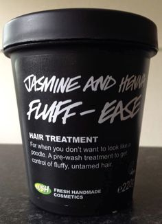 """Jasmine and Henna Fluff-Eaze Hair Treatment: """"For when you don't want to look like a poodle. A pre-wash treatment to get control of fluffy, untamed hair"""""""