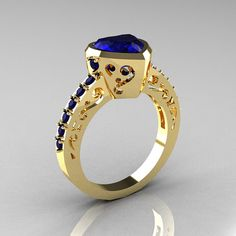 Classic 14K Yellow Gold 20 Carat Heart Blue Sapphire by artmasters, $1149.00