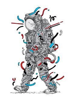 - Spaceman - ink, bristol board, Photoshop