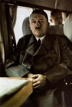"Hitler on a flight to his ""Berghof"" in the Alps, June 1, 1943."