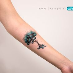 Watercolor Tree Tattoo by koraykaragozler on DeviantArt Tattoos For Women Half Sleeve, Tattoos For Women Small, Small Tattoos, Trendy Tattoos, Tattoos For Guys, Cool Tattoos, Colorful Tattoos, Watercolor Tattoo Tree, Tattoo Abstract