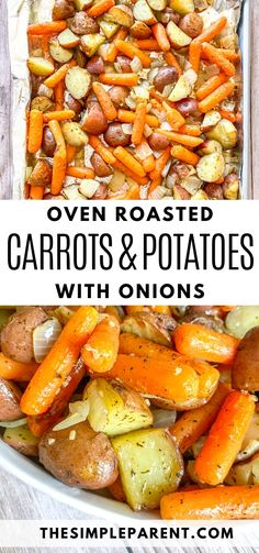 These sheet pan vegetables are one of the easiest side dishes to make! Oven roasted baby carrots with red potatoes and onions pair well with chicken, pork, steak, and fish! Try them tonight! side dishes Baked In Oven Carrots and Potatoes Dinner Side Dishes, Potato Side Dishes, Veggie Side Dishes, Healthy Side Dishes, Vegetable Sides, Food Dishes, Side Dishes For Chicken, Pork Roast Side Dishes, Side Dishes With Steak