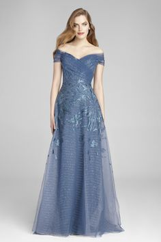 Blue Mother Of The Bride Evening Gown Tulle And Sequin Metallic