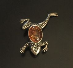Vintage 3D Frog Amber & Sterling Silver Brooch/Pin | Jewelry & Watches, Vintage & Antique Jewelry, Fine | eBay!