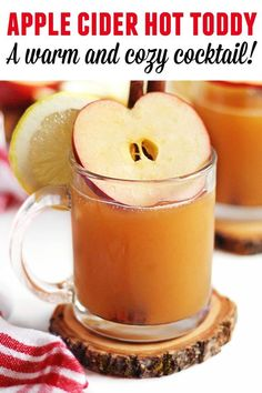 Warm up with this delicious hot apple toddy whiskey cocktail! Warm Apple cider, whiskey, honey, and lemon make this perfect for those cool nights! Apple Cider Hot Toddy, Apple Cider Cocktail, Warm Apple Cider, Cranberry Juice Cocktail, Cider Cocktails, Fall Cocktails, Fall Drinks, Summer Drinks, Mixed Drinks