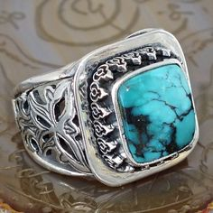 Silver Mens Ring Turquoise natural Persian Firoza Unique Handcrafted Jewelry #KaraJewels #Handcrafted