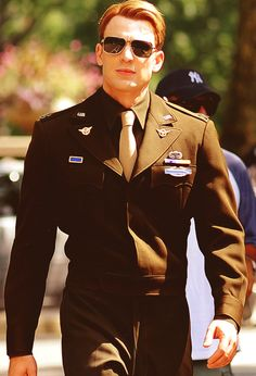 Chris Evans. Gosh, who doesn't love a man in uniform, even if it's for a movie ;)
