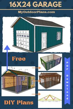 Free plans for building a one car detached garage. Step by step instructions with detailed diagrams and instructions. A materials list and a cut list are included in the free tutorial. Shed plans. Garage Plans Free, Garage Building Plans, Plan Garage, Garage Plans With Loft, Diy Shed Plans, Storage Shed Plans, Building A Shed, Free Plans, Detached Garage Plans