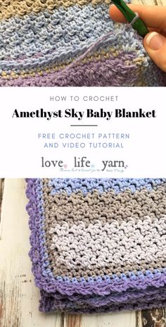 Learn to crochet the Amethyst Sky Baby Blanket - a free crochet baby blanket pattern with a full video tutorial. Uses only sc and dc so even a beginner can make this blanket! patterns for beginners videos Amethyst Sky Baby Blanket - Free Crochet Pattern Crochet Borders, Crochet Blanket Patterns, Baby Blanket Crochet, Crochet Stitches, Knitting Patterns, Rainbow Crochet Blankets, Crochet Baby Stuff, Crochet Edging Patterns Free, Crochet Bedspread Pattern