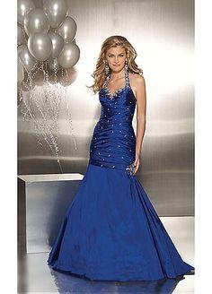 Elegant Taffeta Mermaid Halter Prom Dress In Fashion Design