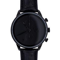 Metallic Gold Chronograph Watch - Black Leather – Talley & Twine Watch Company
