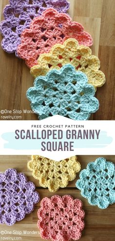 How to Crochet Scalloped Granny Square - - Square Crochet Coasters can evidently look as cute as circular ones, or even better. As crocheters on the hunt for inspiration, we often see the same. Crochet Motifs, Crochet Blocks, Crochet Dishcloths, Granny Square Crochet Pattern, Afghan Crochet Patterns, Crochet Squares, Crochet Coaster Pattern Free, Crochet Cushions, Crochet Pillow