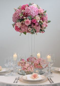 Romantic pastel pink tablecentre. Shot by Lloyd Dobbie in our Battersea studio.