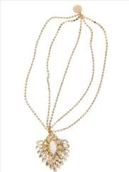 gold plated 2 tier rhinestone crystal chain headpiece with a gold plated crystal medallion