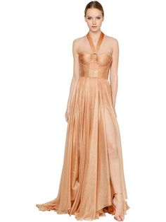 MARIA LUCIA HOHAN Laminated Silk Georgette Dress, Pink. #marialuciahohan #cloth #dresses