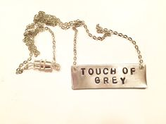 Metal stamped silver bar necklace - Grateful Dead song: Touch of Grey  Available on GypsiesEnRegalia etsy!