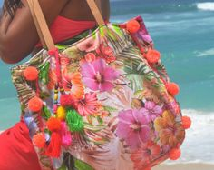 Pom Pom playa bolso o borlas playa bolsos bolso/Boho por JavaSpirit