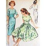 1950s McCALLS DRESS PATTERN 4530 VINTAGE SLIM or FULL SKIRTED MIDRIFF INTEREST V BACK GORGEOUS DESIGN