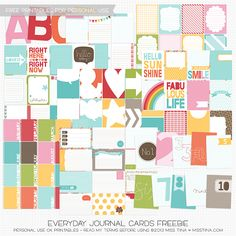 Everyday Journal Cards Freebie for Project life- 128 cards!