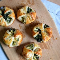 Spinach Puffs. These remind me of a breakfast pastry we find at one of our favorite bakery shops.