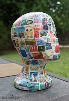 International postage stamps Manequin Head by BlackWillowGallery Styrofoam Head, Wig Hat, Hat Display, Postage Stamp Art, Mannequin Heads, Displaying Collections, Mail Art, Stamp Collecting, Repurposed Furniture