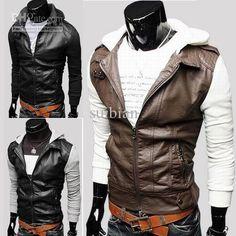 Wholesale 2012 Fashion Men Coat Jacket Slim Hooded Leather clothing 2234, Free shipping, | DHgate