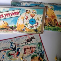 I love old farm themed toys and this is a nice one, a Fun on the Farm vintage board game from Milton Bradley, made in USA. Great graphics on the original box and the board. Its a simple game where you spin the wheel and move the pieces through the farm. Great for little ones or collectible. The original box is coming apart at the corners and has some tears on the edges but other than that everything is still in good condition. Comes with two game pieces. Box is about 17 X 9 X 1  Please…