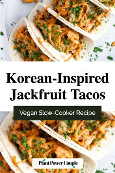 We LOVE these Vegan Korean-Inspired Jackfruit Tacos! They're perfect for meal prep or an easy weeknight dinner, made in your slow-cooker to make the whole process super simple! The filling is tender, meaty shredded jackfruit cooked in a spicy/sweet flavor bath. It's then wrapped in a pollow-y tortilla, topped with a crisp sprinkle of kimchi, and smothered in a creamy cashew Gochujang sauce. #vegan #dinner #plantbased #jackfruit #tacos Dairy Free Queso, Vegan Crockpot Recipes, Healthy Chili, Vegan Slow Cooker, Vegetarian Curry, Vegan Tacos, Easy Weeknight Dinners, Kimchi, Super Simple