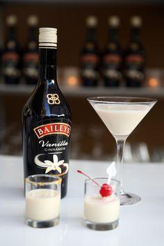 1oz Baileys Vanilla Cinnamon + 0.5oz Vodka or 0.5oz Tequila makes a delicious shot cocktail
