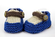 Hand Knit Baby Loafer Booties, Newborn Booties, Modern Booties, Cute Newborn Booties, Blue Tan Newborn Booties, Summer Shoes, Baby Boy Shoes by heaventoseven on Etsy