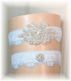 Something Blue Wedding Garter Set - Bridal Garter - Vintage Style Bride's Garter Set Keepsake and Toss