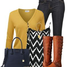 Mustard Yellow Crew Neck Cardigan Cute Fall Outfit outfitspedia