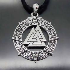 Vintage Valknut Odin's Symbol of Vikings Warriors Pewter Pendant Necklace