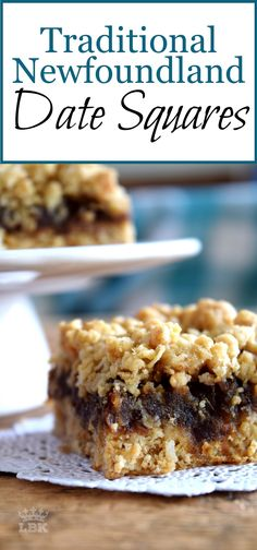 Newfoundland Date Squares are a traditional Newfoundland treat!  Slightly sweet, with a crumbly topping, and a soft, chewy center, perfect for an afternoon snack with a cup of hot tea! #Newfoundland #recipes #dates #squares #date