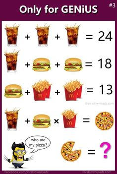 Burger fries coke Math Puzzles - Only for genius math puzzle - Solve this puzzle image Fun Math, Math Games, Brain Games, Math Logic Puzzles, Math Quizzes, Mind Puzzles, Funny Brain Teasers, Sixth Grade Math, Math Talk