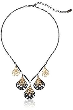 "1928 Jewelry Black and Gold-Tone Filigree Teardrop Collar Adjustable Necklace, 16"" *** Click image to review more details. (Amazon affiliate link)"