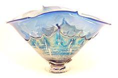Silver Blue Overlay Bowl by Dierk Van Keppel (Art Glass Vessel) | Artful Home